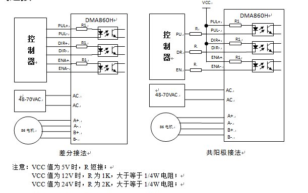 dma860h驱动器采用差分式接口电路可适用差分信号,单端共阴及共阳等